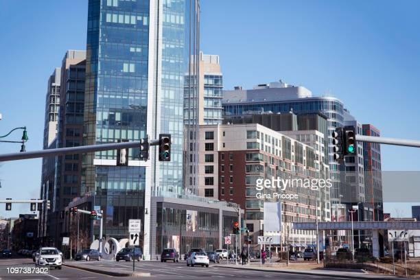 boston, city street view. - semaphore stock pictures, royalty-free photos & images
