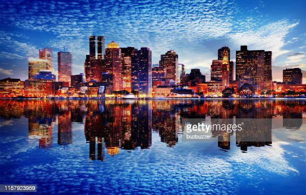 boston city sunset - massachusetts stock pictures, royalty-free photos & images