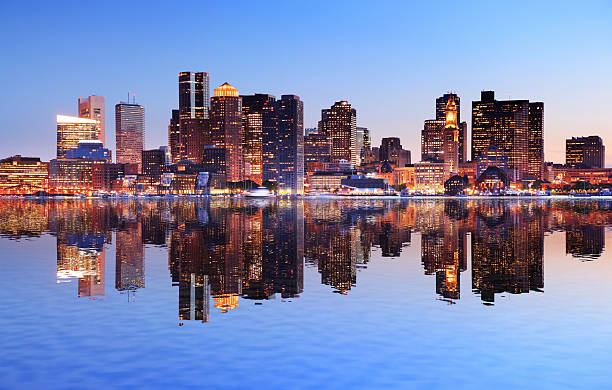 Boston City With Water Reflection At Sunset Wall Art