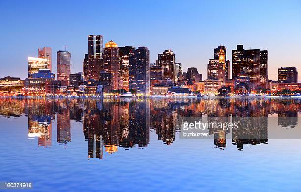 boston city with water reflection at sunset - boston stock pictures, royalty-free photos & images