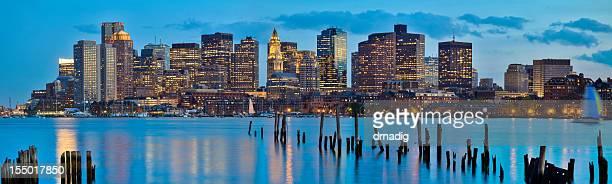 Boston Cityscape Across Boston Harbor at Early Evening - Panorama