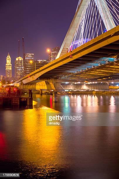 Boston Cityscape and Zakim Bridge at Night