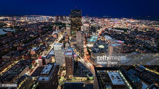 Boston cityscape from the Skywalk Observatory of the Prudential Center