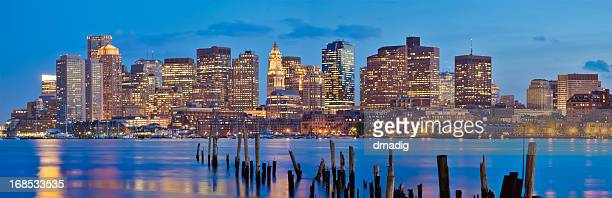Boston Cityscape in Early Evening - Panorama