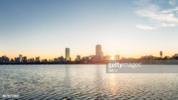 boston cityscape, skyline - boston skyline stock pictures, royalty-free photos & images
