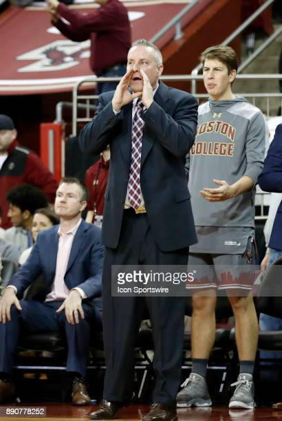 Boston College assistant coach Bill Wuczynski yells instruction during a game between the Boston College Eagles and the Duke University Blue Devils...