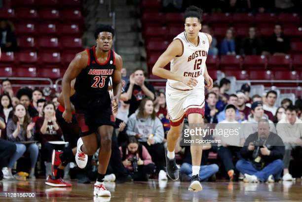 Boston College center Johncarlos Reyes hustles up court during a game between the Boston College Eagles and University of Louisville Cardinals on...