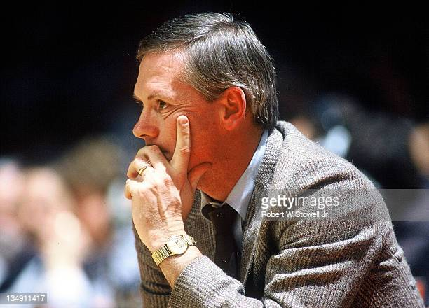 Boston College coach Jim O'Brien intently watches action against the University of Connecticut Hartford CT 1988