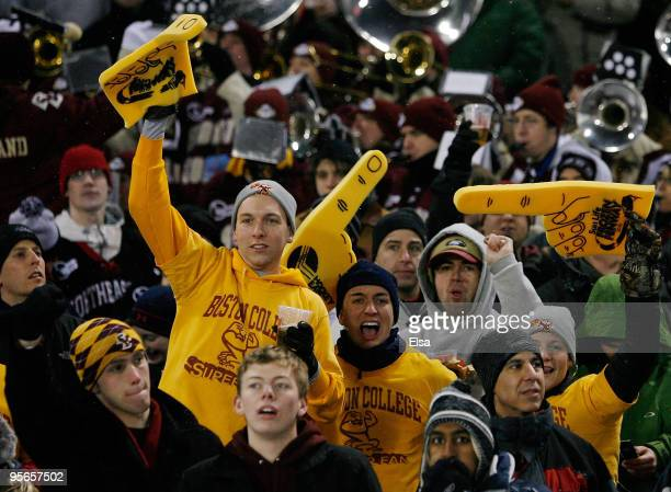 Boston College Eagles cheer on their team in the first period against the Boston University Terriers on January 8, 2010 during the Sun Life Frozen...