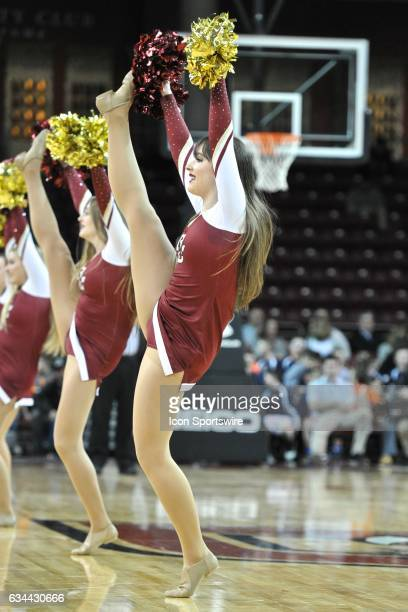 Boston College Eagles cheerleader gets the crowd fired up During the Boston College Eagles game against the Pittsburgh Panthers on February 8 2017 at...