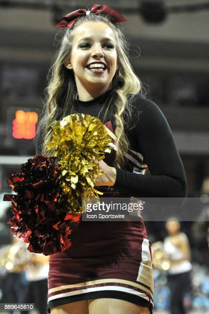 Boston College Eagles cheerleader is all smiles as her team has the lead During the Boston College Eagles game against the Duke Blue Devils on...
