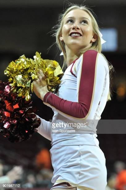 Boston College Eagles cheerleader is all smiles as her team has the lead During the Boston College Eagles game against the Richmond Spiders at Conte...