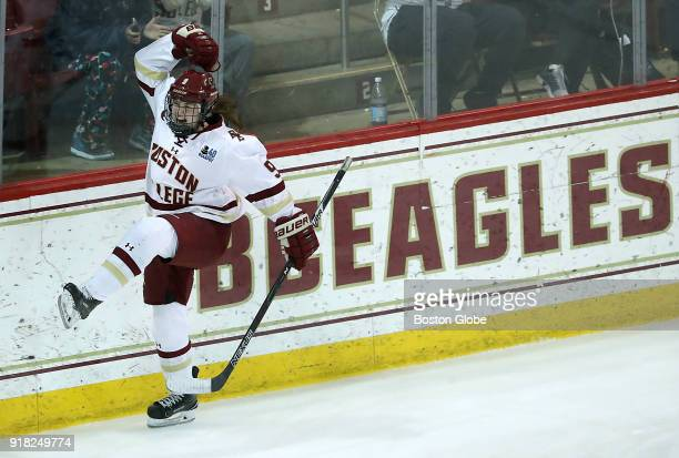 Boston College Eagles' Daryl Watts celebrates her goal during the third period Boston College faces Boston University in the women's Beanpot...