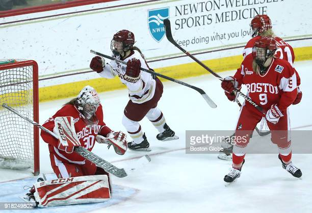 Boston College Eagles' Daryl Watts center celebrates her goal during the third period Boston College faces Boston University in the women's Beanpot...