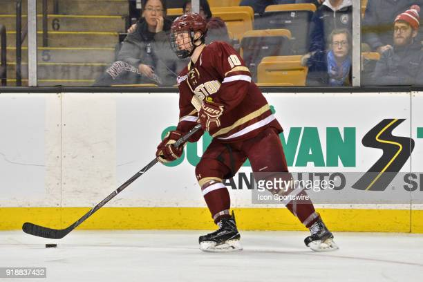 Boston College Eagles forward Christopher Brown skates up ice with the puck During the Boston College Eagles game against the Harvard University...