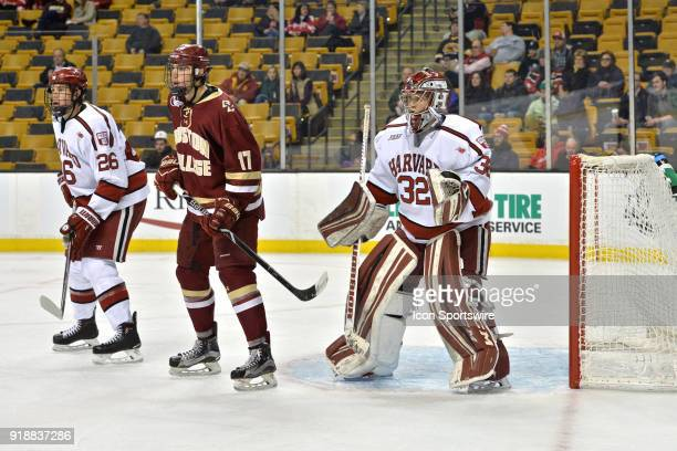 Boston College Eagles forward David Cotton tries to set up in front of the net During the Boston College Eagles game against the Harvard University...