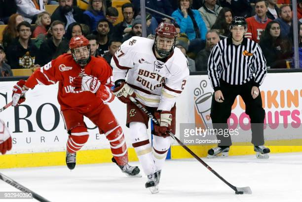 Boston College Eagles forward Graham McPhee lines up a shot during a Hockey East semifinal between the Boston College Eagles and the Boston...