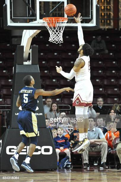Boston College Eagles forward Mo Jeffers goes up for an easy lay up During the Boston College Eagles game against the Pittsburgh Panthers on February...