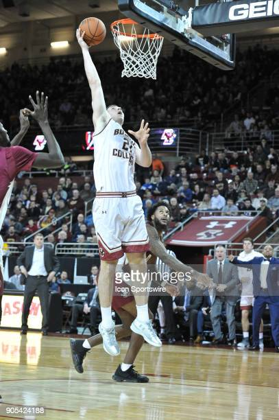 Boston College Eagles forward Nik Popovic goes up for 2 of his 14 points on the night During the Boston College Eagles game against the Florida State...
