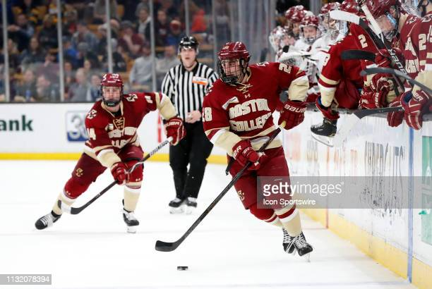 Boston College Eagles forward Ron Greco gains the blue line during a Hockey East semifinal game between the Boston College Eagles and the UMASS...