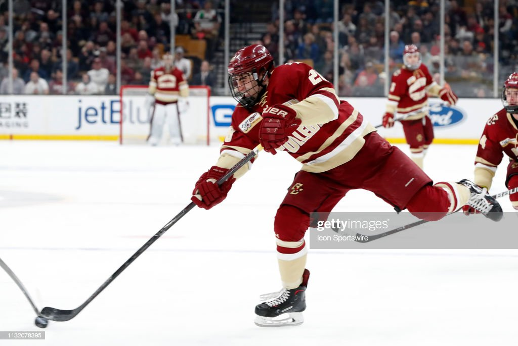 Boston College Eagles forward Ron Greco shoots during a Hockey East