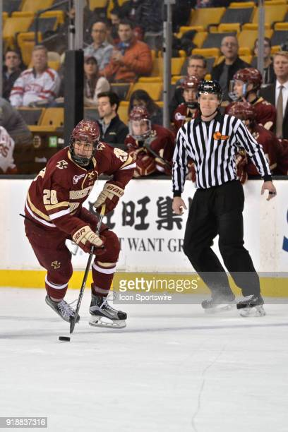 Boston College Eagles forward Ron Greco skates up ice with the puck During the Boston College Eagles game against the Harvard University Crimson at...
