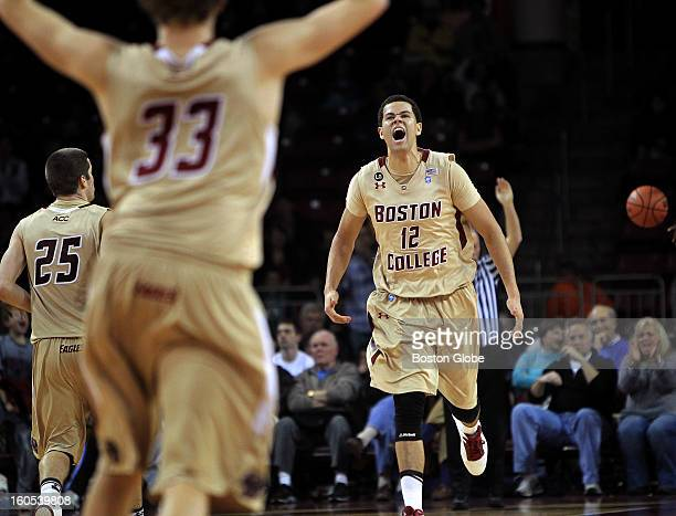Boston College Eagles forward Ryan Anderson lets out a howl after scoring late in the fourth quarter ensuring BC the win over the Providence Friars....
