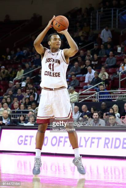 Boston College Eagles forward Steffon Mitchell takes a jump shot during a college basketball game between Georgia Tech Yellow Jackets and Boston...