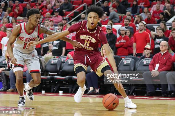 Boston College Eagles forward Vin Baker Jr with the ball guarded by North Carolina State Wolfpack guard Markell Johnson during the 2nd half of the NC...