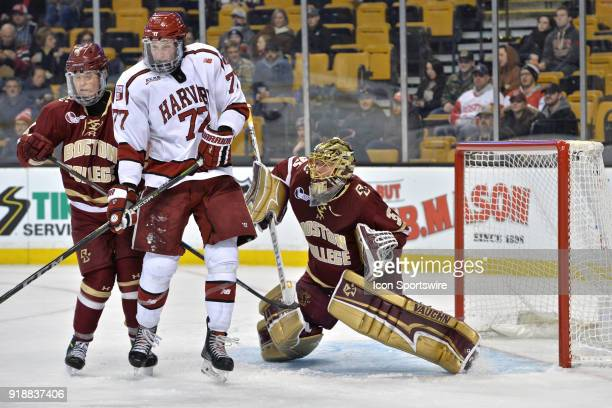Boston College Eagles goaltender Ryan Edquist gets ready to try and spot the puck thru traffic During the Boston College Eagles game against the...