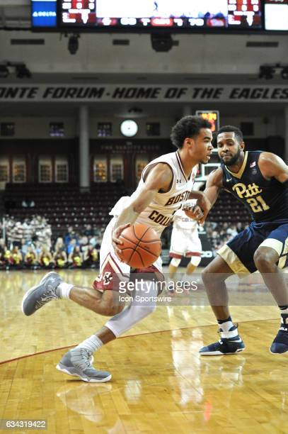 Boston College Eagles guard Jerome Robinson drives hard to the basket During the Boston College Eagles game against the Pittsburgh Panthers on...