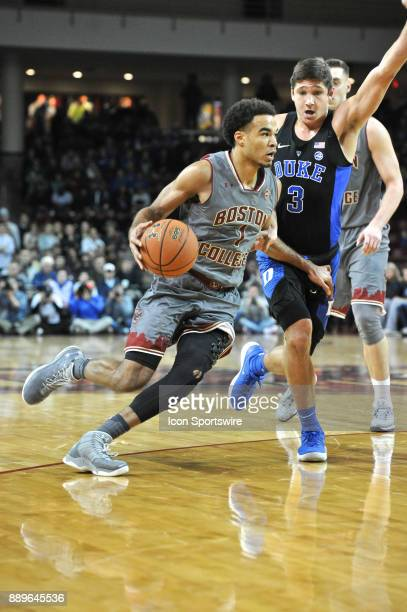 HILL MA Boston College Eagles guard Jerome Robinson drives with the ball past Duke Blue Devils guard Grayson Allen During the Boston College Eagles...