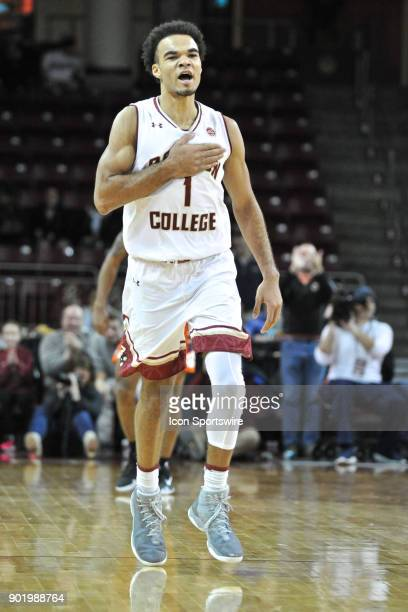 Boston College Eagles guard Jerome Robinson fired up after scoring one of his many three pointers on the night During the Boston College Eagles game...