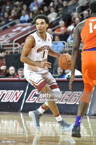Boston College Eagles guard Jerome Robinson had 28 points on the night During the Boston College Eagles game against the Clemson Tigers at Conte...