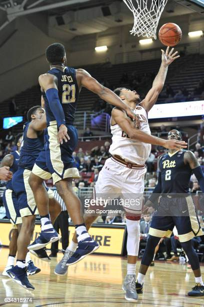 Boston College Eagles guard Jerome Robinson makes an awkward basket During the Boston College Eagles game against the Pittsburgh Panthers on February...