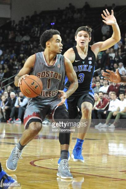 HILL MA Boston College Eagles guard Jerome Robinson tries to drive past Duke Blue Devils guard Grayson Allen During the Boston College Eagles game...