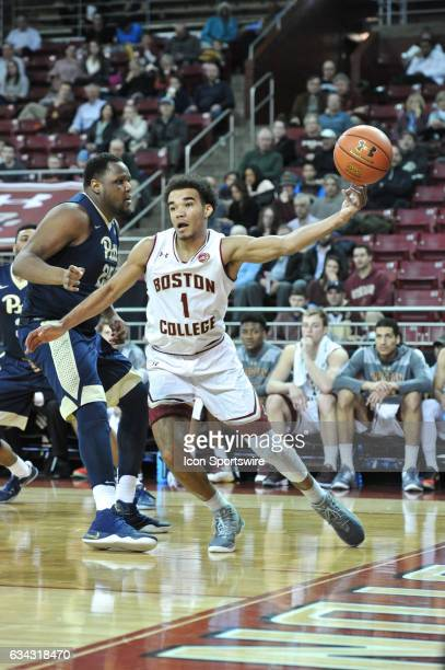 Boston College Eagles guard Jerome Robinson tries to save the ball from going out of bounds During the Boston College Eagles game against the...