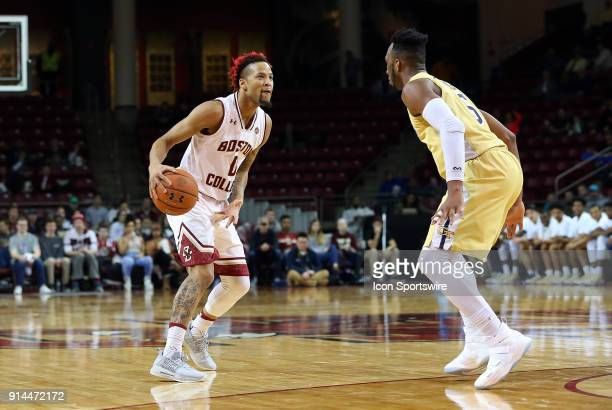 Boston College Eagles guard Ky Bowman and Georgia Tech Yellow Jackets guard Josh Okogie in action during a college basketball game between Georgia...