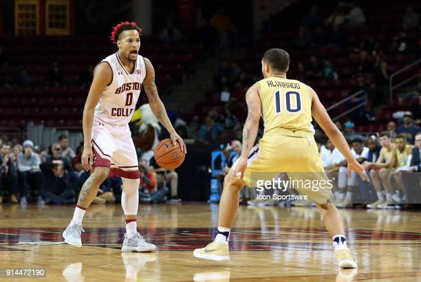 Boston College Eagles guard Ky Bowman and Georgia Tech Yellow Jackets guard Jose Alvarado in action during a college basketball game between Georgia...