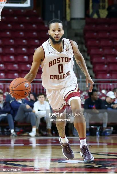 Boston College Eagles guard Ky Bowman brings the ball up court during a college basketball game between Columbia Lions and Boston College Eagles on...