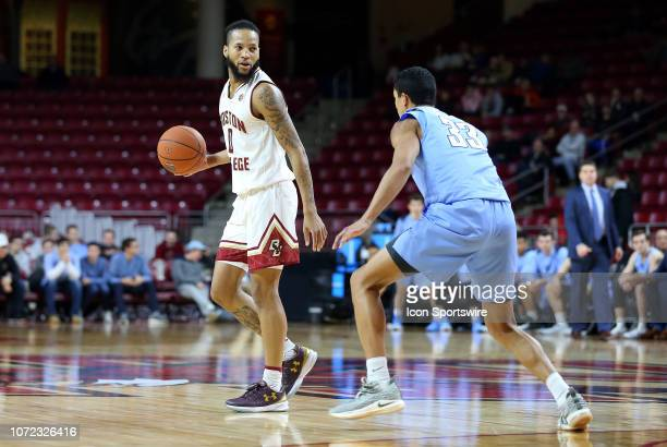 Boston College Eagles guard Ky Bowman defended by Columbia Lions guard Tai Bibbs during a college basketball game between Columbia Lions and Boston...