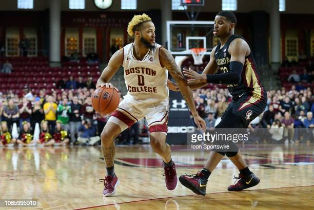 Boston College Eagles guard Ky Bowman defended by Florida State Seminoles guard MJ Walker during a college basketball game between Florida State...