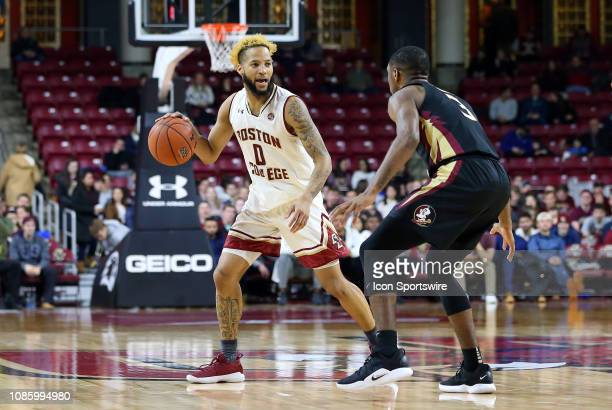 Boston College Eagles guard Ky Bowman defended by Florida State Seminoles guard Trent Forrest during a college basketball game between Florida State...