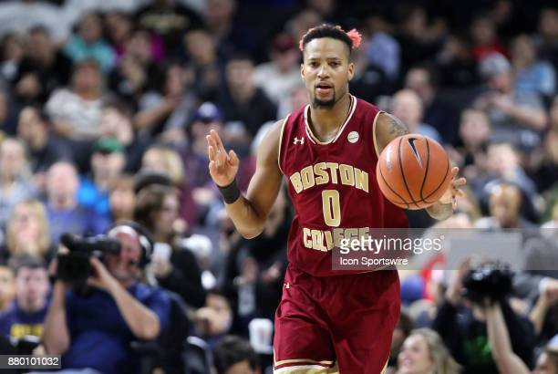 Boston College Eagles guard Ky Bowman dribbles the ball up court during a college basketball game between Boston College Eagles and Providence Friars...