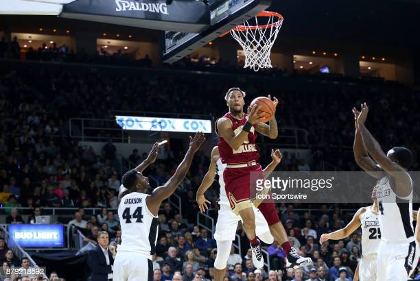 Boston College Eagles guard Ky Bowman drives to the basket during a college basketball game between Boston College Eagles and Providence Friars on...