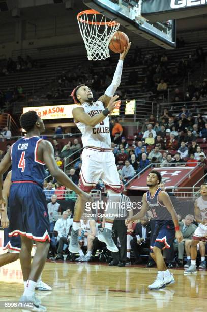 Boston College Eagles guard Ky Bowman goes up for an easy 2 points During the Boston College Eagles game against the Richmond Spiders at Conte Forum...