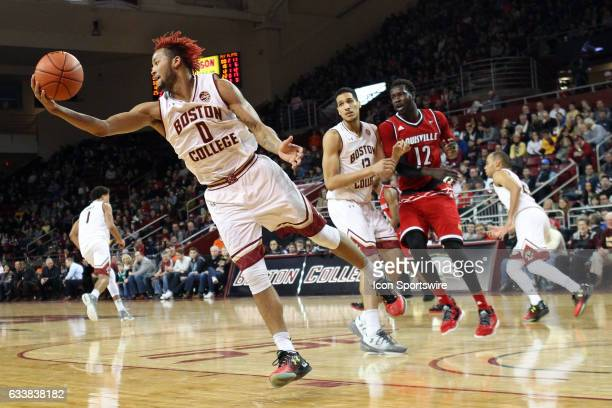 Boston College Eagles guard Ky Bowman grabs a rebound during the second half of a college basketball game between Louisville Cardinals and Boston...