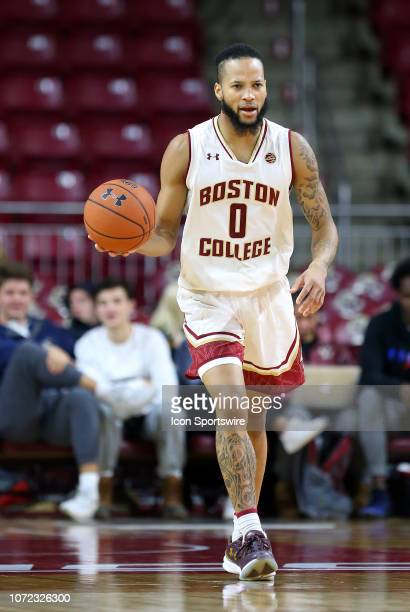 Boston College Eagles guard Ky Bowman with the ball during a college basketball game between Columbia Lions and Boston College Eagles on December 12...