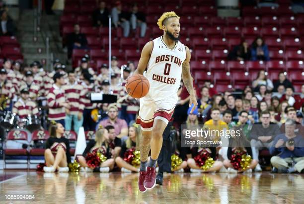 Boston College Eagles guard Ky Bowman with the ball during a college basketball game between Florida State Seminoles and Boston College Eagles on...
