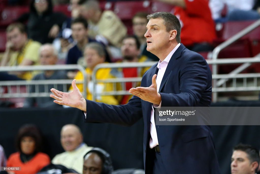 Boston College Eagles head coach Jim Christian reacts during a college basketball game between Georgia Tech Yellow Jackets and Boston College Eagles on February 4, 2018, at Conte Forum in Chestnut Hill, MA. Boston College defeated Georgia Tech 80-72.